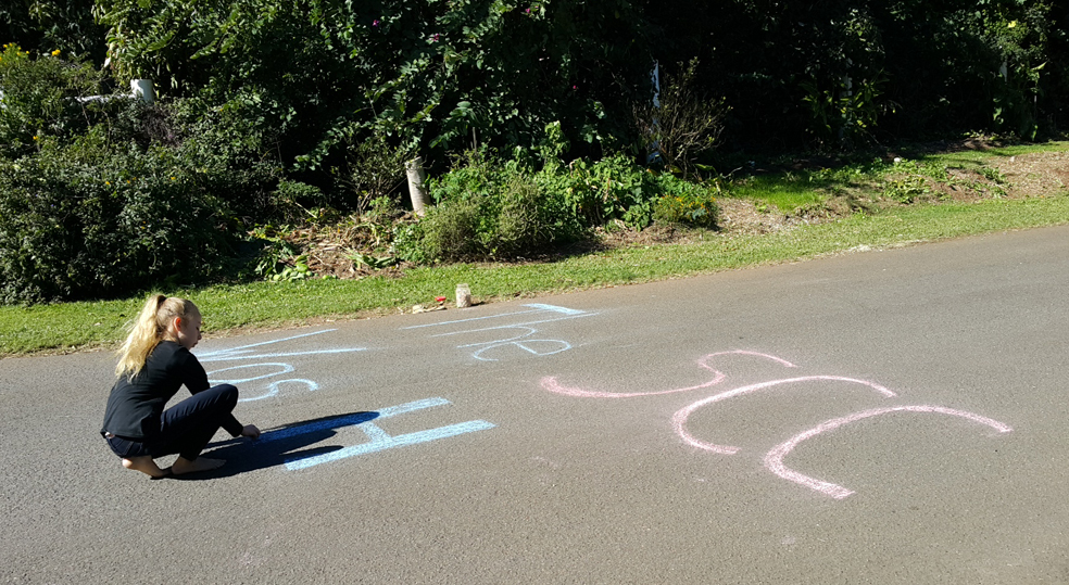 A young Urban Food Streeter takes the initiative to chalk 'SCC was here' at the 'scene of the crime.'
